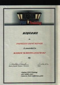 TopGun PDR Training Californien Diploma
