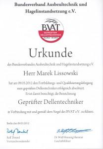 BVAT Urkunde