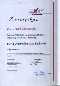 Exit Car Zertifikat PDR1