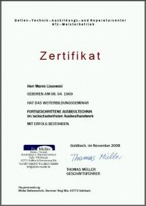 Müller Dellentechnik Zertifikat